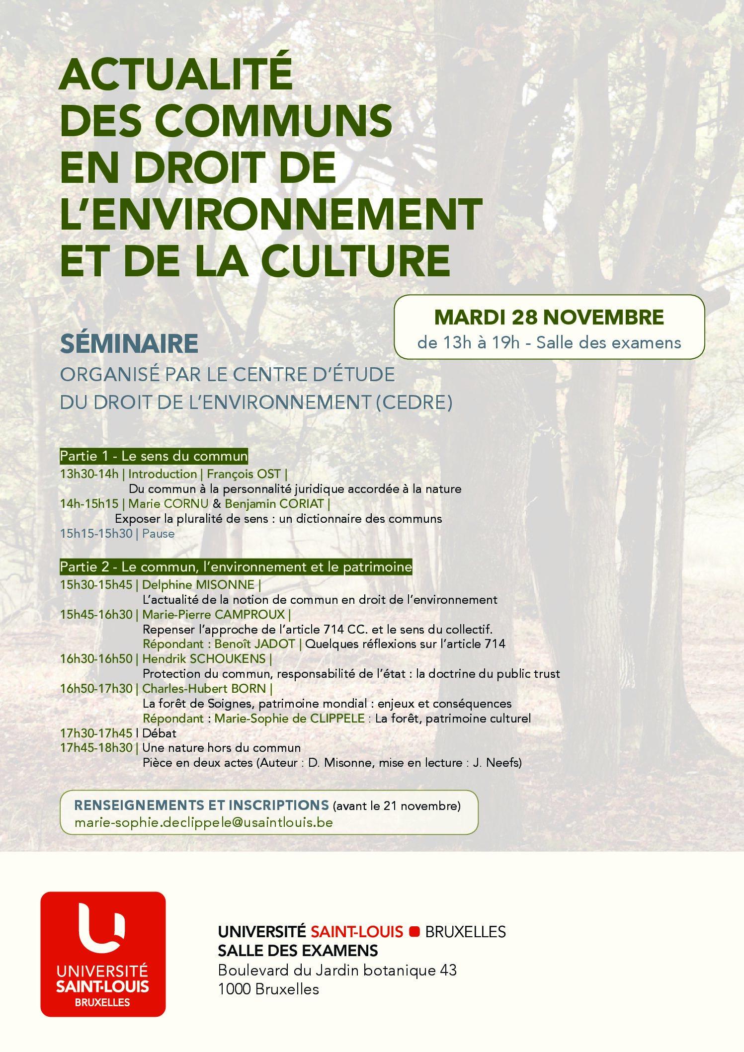 28 novembre – Séminaire Actualité des communs en droit de l'environnement et de la culture